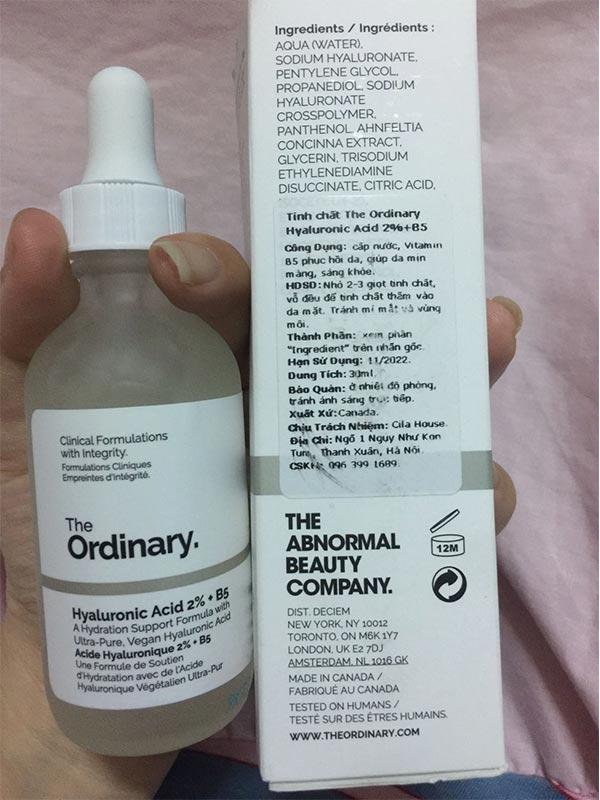 Thành phần serum The Ordinary Hyaluronic Acid 2%+B5
