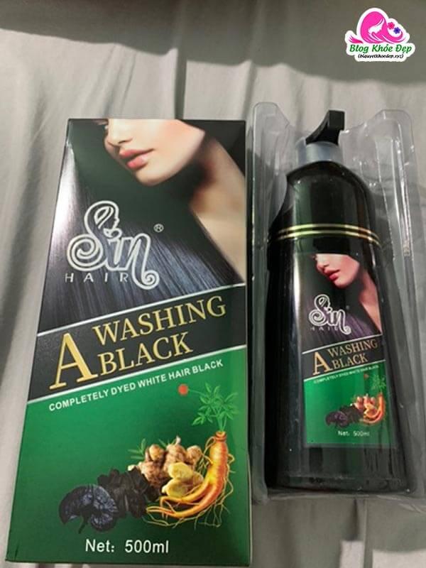 Review dầu gội phủ bạc Sin Hair Nhật Bản màu đen