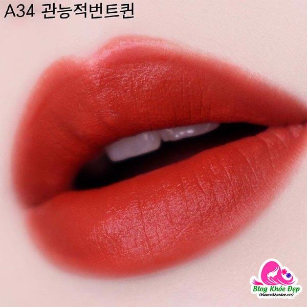 Review son Black Rouge A34 màu cam gạch