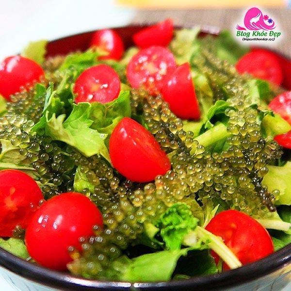 Cách làm salad rong nho Sabudo sốt mè