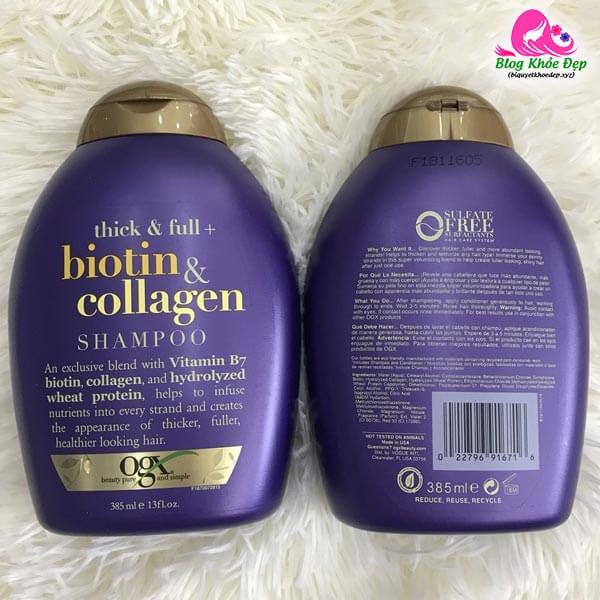Review dầu gội trị rụng tóc sau sinh Biotin Collagen
