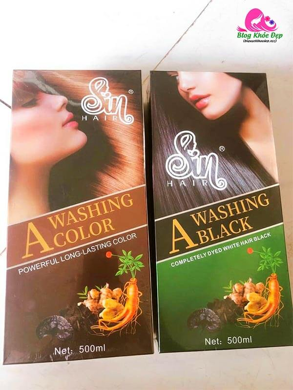 Sản phẩm dầu gội Sin Hair Nhật Bản 2 màu nâu và đen